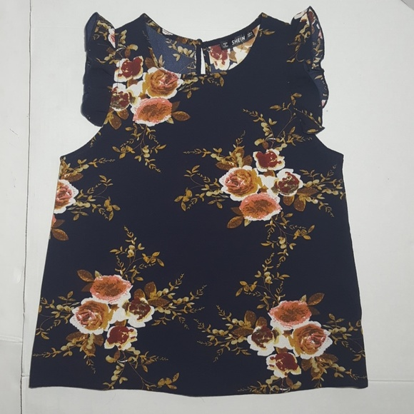 SHEIN Tops - NWOT SHEIN Beautiful Navy Blue Floral Tank
